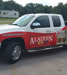 a service truck from aladdin garage doors can install designer garage doors in one visit