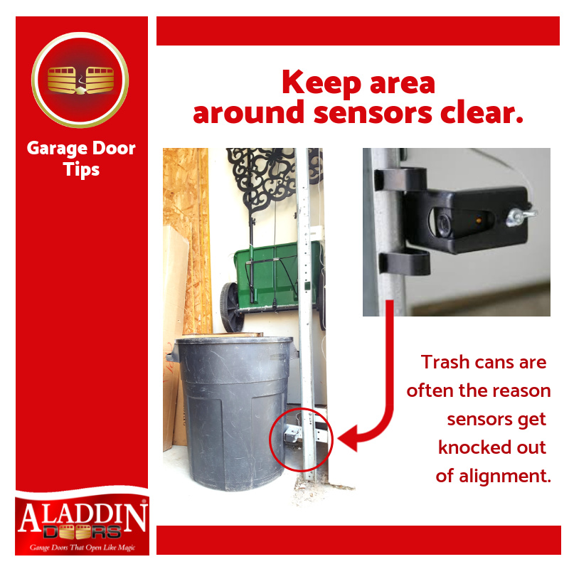 Garage door tips describing the symptoms of sensors out of alignment