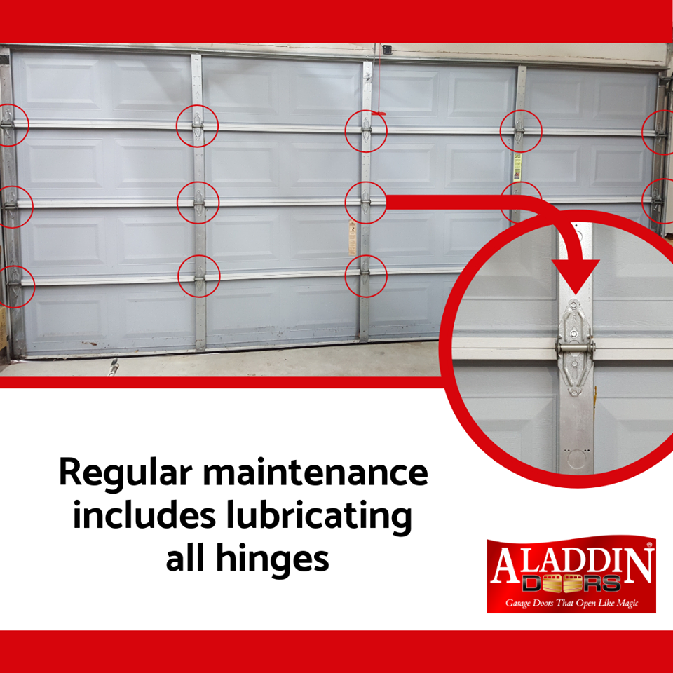 garage door tips about the importance of lubricating the garage door parts including garage door hinges