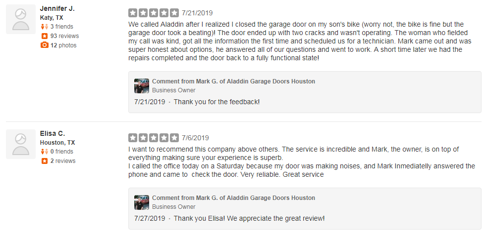garage doors company with great yelp reviews