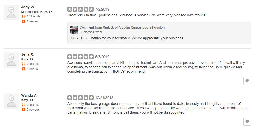 garage door company with great reviews