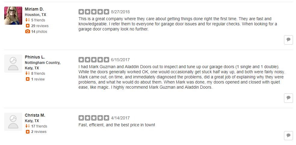 garage door service yelp review