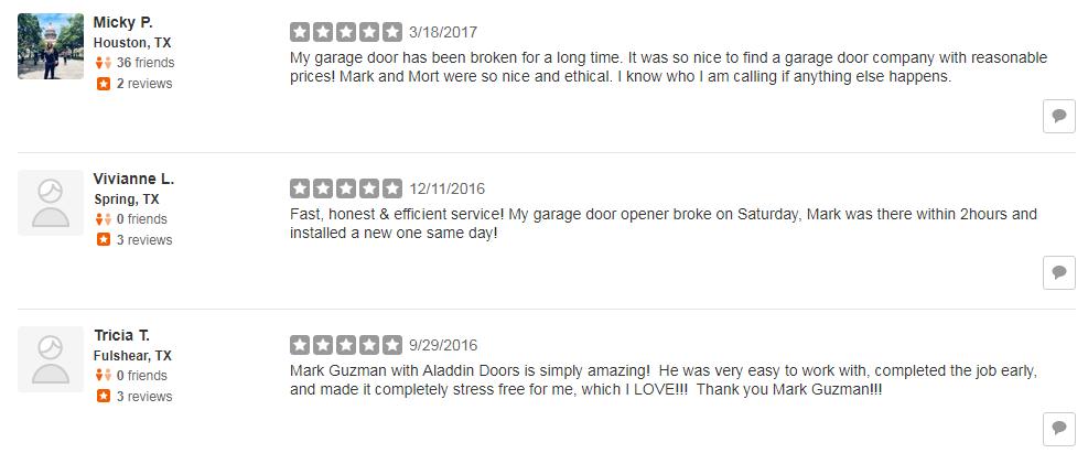 yelp reviews for great garage door repair service